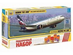 Модель сборная ZVEZDA Авиалайнер Пассажирский Боинг 767-300, подарочный набор, 1:144
