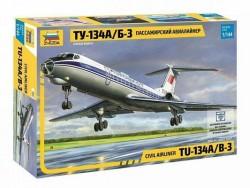 Модель Сборная ZVEZDA Пассажирский авиалайнер ТУ-134А/Б-3, 1:144