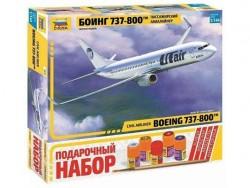 Модель сборная ZVEZDA Авиалайнер Пассажирский Боинг 737-800 подарочный набор, 1:144
