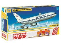 Модель сборная ZVEZDA Пассажирский Авиалайнер Ил 86, подарочный набор, 1:144