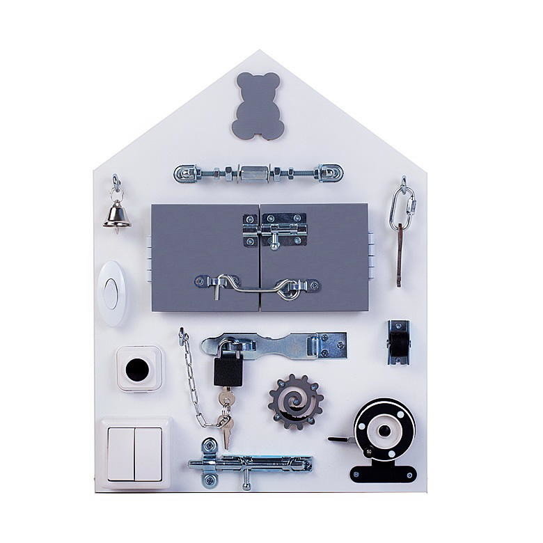Бизиборд Планшет Домик Малый Серый 30*40 см